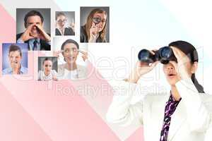 Digitally generated image of businesswoman using binoculars with human resourcing in background