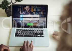 Laptop with bonsai. Login screen