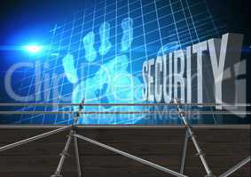 Security Text with 3D Scaffolding and hand grid interface