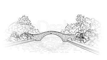 Bridge in park view. city garden lanscape.  Engraving retro natu