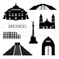 Mexico city landmarks icon set. Famous buildings travel signs