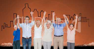 Digital composite image of happy family with arms raised standing against buildings in background