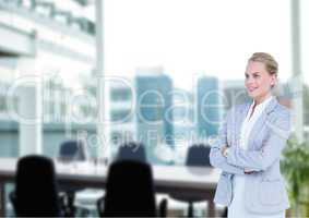 Business woman hand folded in the meeting room