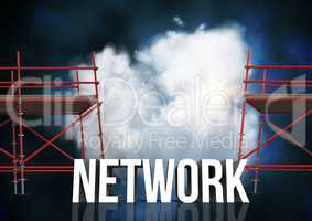 Network Text with 3D Scaffolding and illuminated cloud