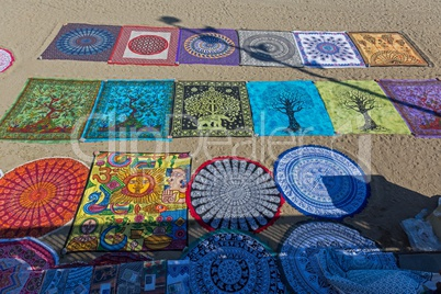 Textiles for sale on the beach in Barcelona of Spain, 09 April 2017