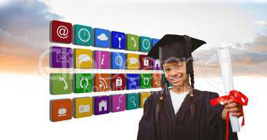 Confident girl in graduate attire holding certificate by application icons