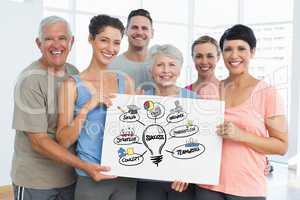 Fit men and women holding bill board with success graphics
