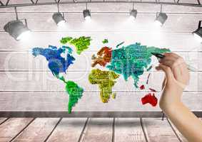 Hand writing business words on Colorful Map  under spotlights