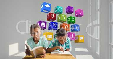 Boys reading books with application icons flying in background