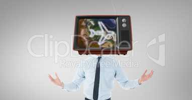 TV on businessman's head with travel concept