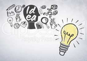 Colourful lightbulb with idea and business graphic drawings