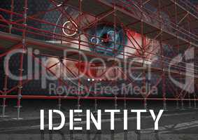 Identity Text with 3D Scaffolding and eye interface