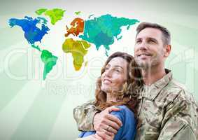 Army couple in front of Colorful Map