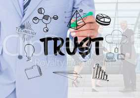 Trust graphic with business people background