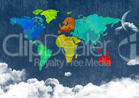 Colorful Map with  cloudy background