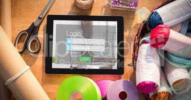Log in page on digital tablet by craft products