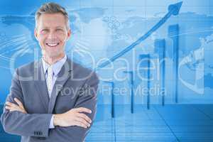 Digitally generated image of businessman with graph and world map in background