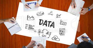 Data text by icons and hands of business people