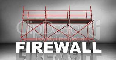 3D word firewall against scaffolding in grey room