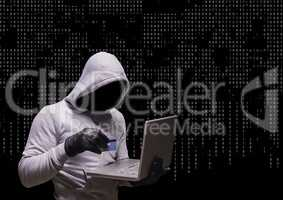 Anonymous Criminal in hood on laptop in front of numbers