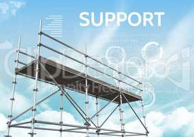 Support Text with 3D Scaffolding and technology interface sky