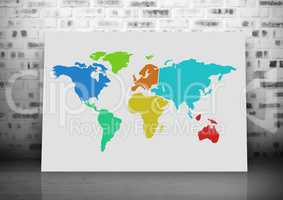 Colorful Map with brick wall background