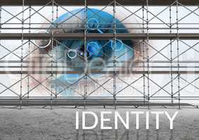Identity Text with 3D Scaffolding with eye interface