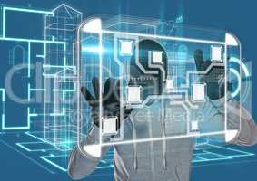 Grey jumper hacker with out face, hands up, technological city background
