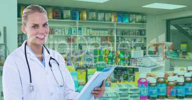 Confident doctor standing at pharmacy