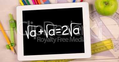 Education graphics on devices  by stationery and apple