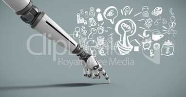Android hand pointing with idea brainstorm and Business graphics drawings