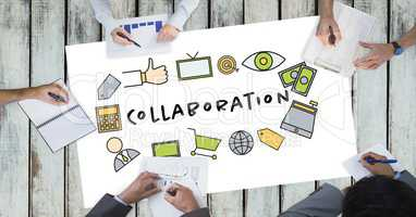 Collaboration text by icons and business people on table