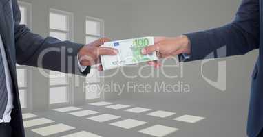 Cropped image of businessmen holding money bundle representing corruption concept