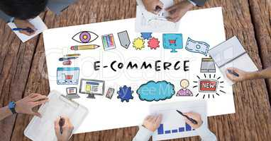 E-commerce text surrounded by graphics and business people's hands