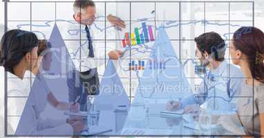 Digital composite image of graphs and grid with business people working in office
