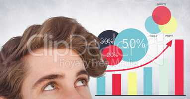 Top of man's head against graphs and white wall