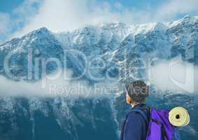 travel mountain snow, purple bag men