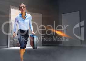 Heroic powerful businesswoman walking in door to room