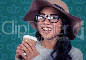 Woman in sun hat with coffee against blue floral pattern