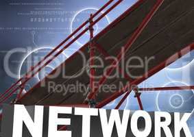 Network Text with 3D Scaffolding and technology interface sky