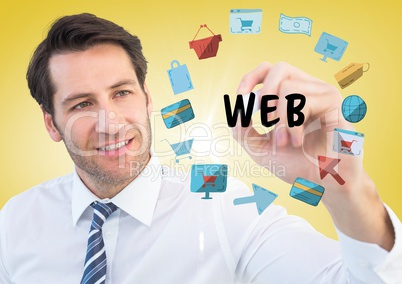 Business man with marker behind web doodles and flare against yellow background