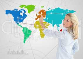 Businesswoman drawing on Colorful Map with Connector background