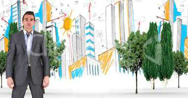 Digitally generated image of businessman with trees and buildings in background