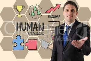 Businessman gesturing by human resource text and icons