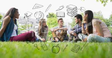 Male and female students sitting on grass with educational graphics