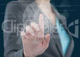 Business woman hand, triangle fingerprint scane