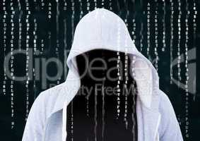 Foreground of grey jumper hacker with out face