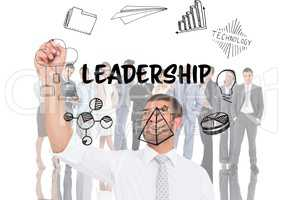 Leadership graphic in front of business people