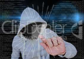 Grey jumper hacker with out face blue blurred background and binary code with square.