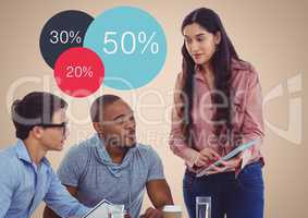 Meeting with tablet against colourful statistics and cream background